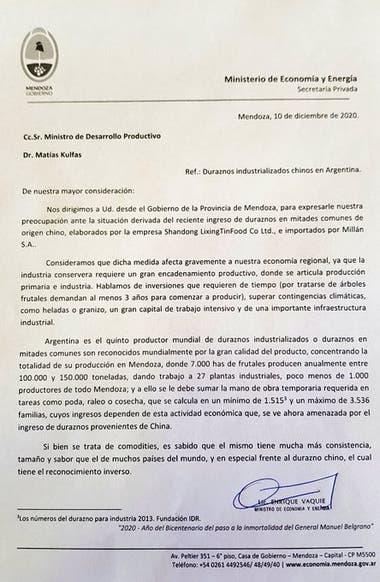 La carta que envió el Gobierno de Mendoza a las autoridades nacionales.