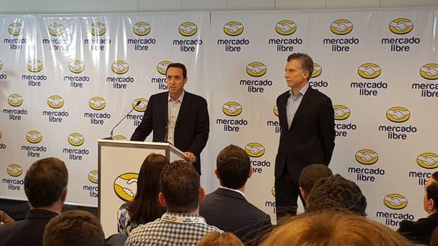Galperín y Macri, este mediodía al anunciar las inversiones