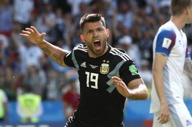 El festejo del gol ante Islandia, en el Mundial de Rusia 2018