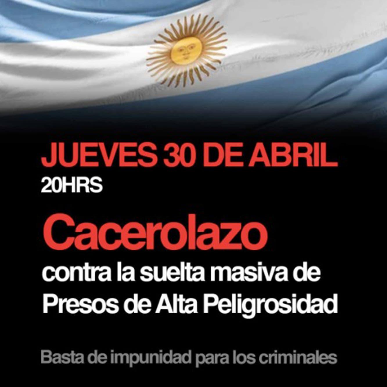 Cacerolazo hoy: récord de firmas y convocatoria en redes contra la liberación de presos