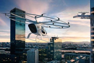 Un Volocopter; estos taxis aéreos podrían cargar pasajeros en terrazas y plataformas de los edificios