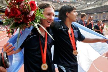 Messi con su inseparable amigo Agüero, en los Juegos de Pekín 2008, cuando el rosarino aportó dos goles para llevar a la Argentina a su segundo oro olímpico consecutivo