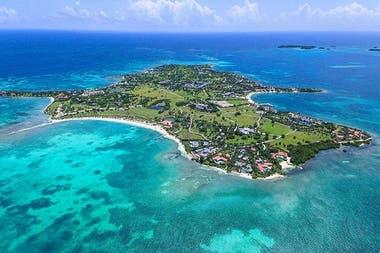 Una vista aérea del Jumby Bay Island Resort en Antigua y Barbuda, donde Lionel Messi pasó una de sus últimas vacaciones