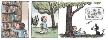 Enriqueta, el personaje creado por Liniers, es una gran lectora