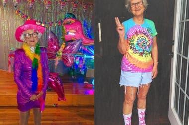Kennedy, una de sus bisnietas, decidió postear la foto en internet y fue furor. A la derecha, la imagen que se tomó en ese momento; a la izquierda, la celebración del cumpleaños número 91 de Baddie en julio del año pasado.