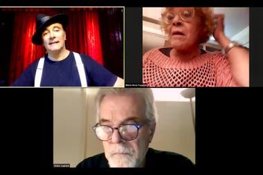 Junto con Aníbal Silveyra y Víctor Laplace, en un musical sobre Gardel, vía Zoom