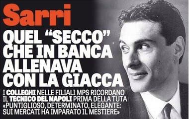 """Maurizio Sarri, años atrás. """"El banquero que entrenó con una chaqueta en el banco""""."""