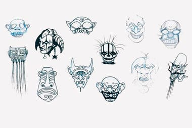 Bocetos para el arte de Momo sampler