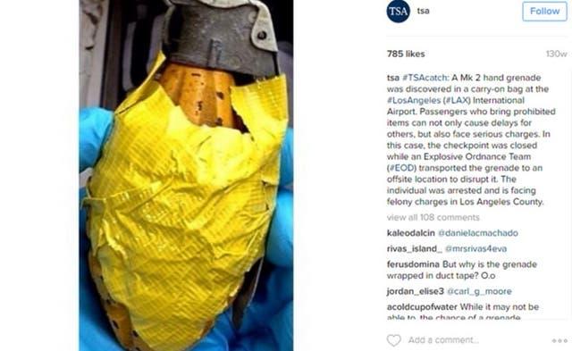 Esta granada fue descubierta en el equipaje de mano de un pasajero que volaba desde el Aeropuerto Internacional de Los Ángeles