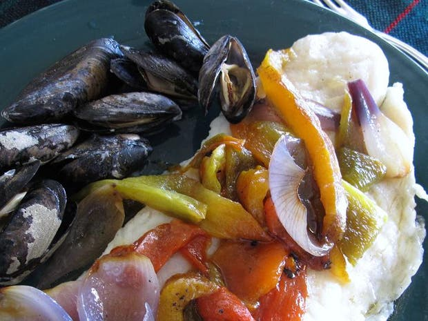 Receta de Lenguado con mejillones y verduras asadas