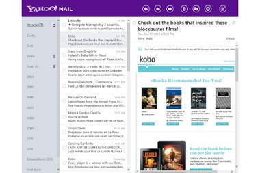 La vista de Yahoo! Mail en Windows 8