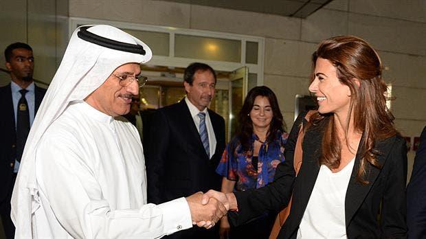 Juliana Awada recién aterrizada en Dubai