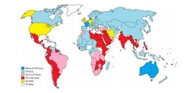 Las jornadas laborales legales, país por país.