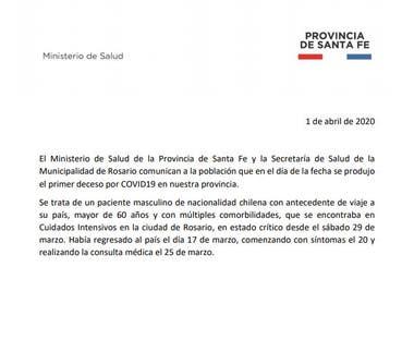 El parte oficial del gobierno de Santa Fe que confirmó la muerte