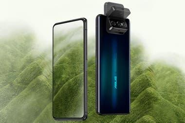 Los Asus Zenfone 7 y 7 Pro tienen una pantalla de 6,67 pulgadas que no necesita cederle espacio a la cámara, que es abatible