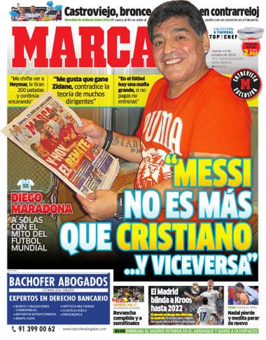 envío directo fecha de lanzamiento: venta de liquidación Maradona, en la tapa del diario español Marca: