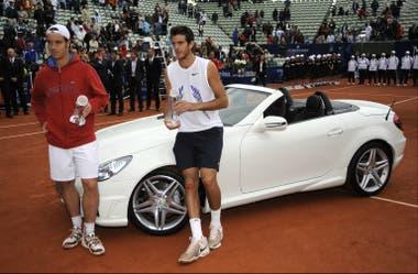 Del Potro campeón: junto con el finalista Richard Gasquet y el Mercedes de premio