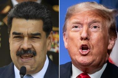 """Salazar anticipó que EEUU, por iniciativa de su presidente, Donald Trump (derecha), acusaría de """"narcoterrorismo"""" al líder venezolano Nicolás Maduro (izquierda)"""