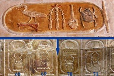 El cartucho de la parte superior de esta imagen tiene el nombre de Hatshepsut y es el que debería estar entre los de Tutmosis II (69) y Tutmosis II (70)