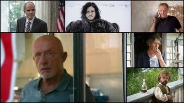 Actores nominados en drama, en categoría secundaria: Michael Kelly, Kit Harington, Jon Voight, Jonathan Banks, Mendelsohn y Peter Dinklage