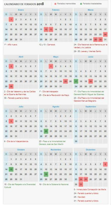 Feriados 2018 Asi Quedo El Calendario La Nacion