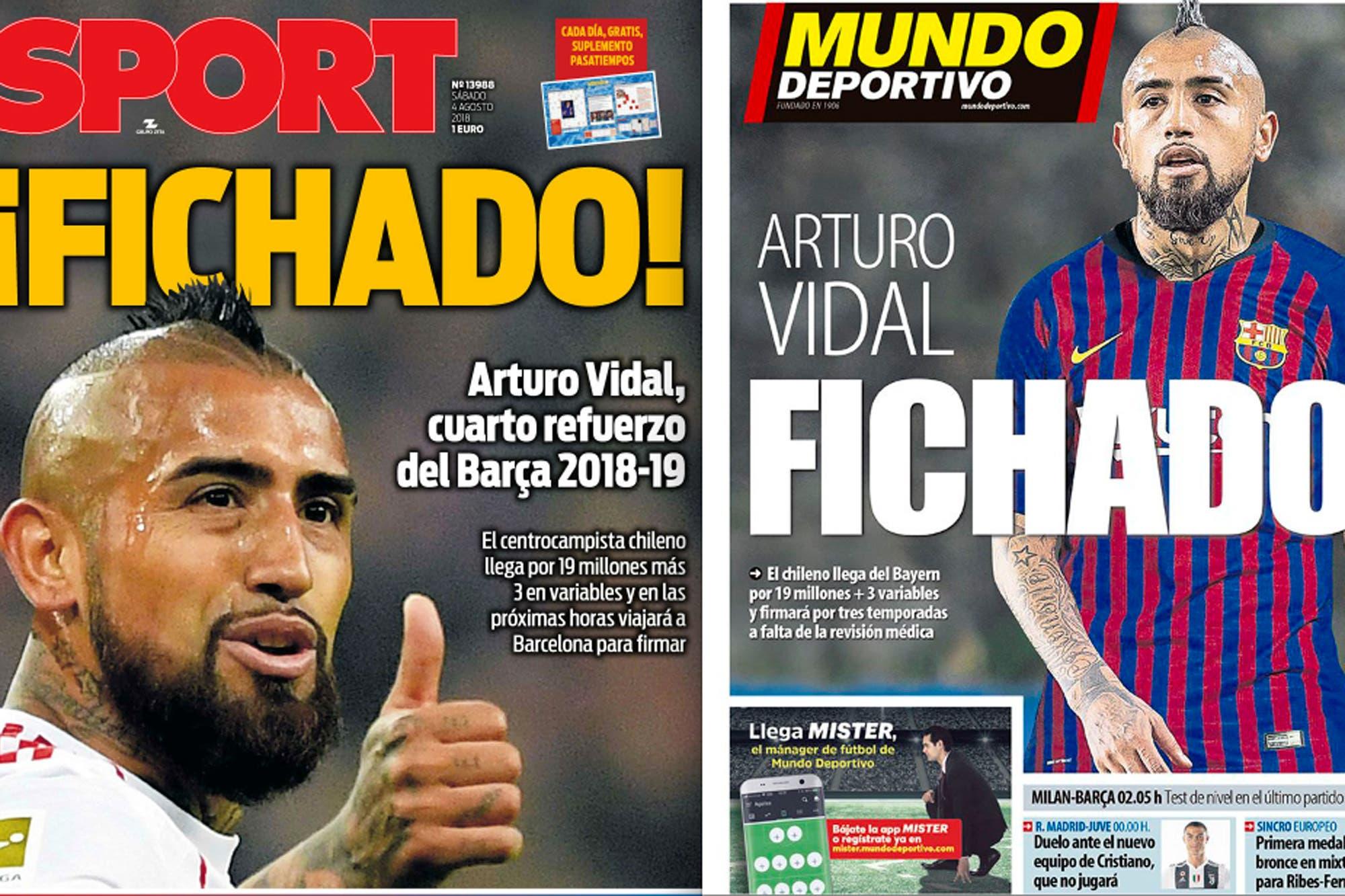 El pase de Arturo Vidal a Barcelona: lo que cobrará y los títulos idénticos de las tapas de los diarios catalanes