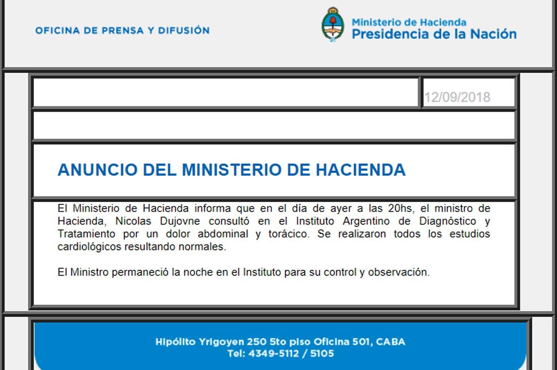 """Nicolás Dujovne está internado por un """"dolor abdominal y torácico"""""""