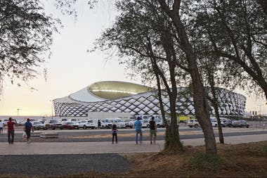 El Estadio Hazza bin Zayed, de lejos