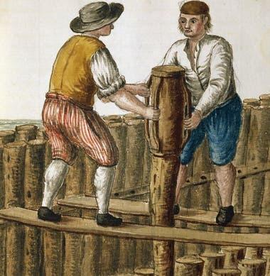 """Colocación de los cimientos en la laguna veneciana, ilustración de Jan van Grevenbroeck (1731-1807) del manuscrito """"Vestido del veneciano"""", Museo Correr (Museo de Arte)"""