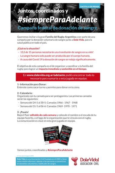 Las instrucción para donar sangre en la campaña que encabeza el rugby.