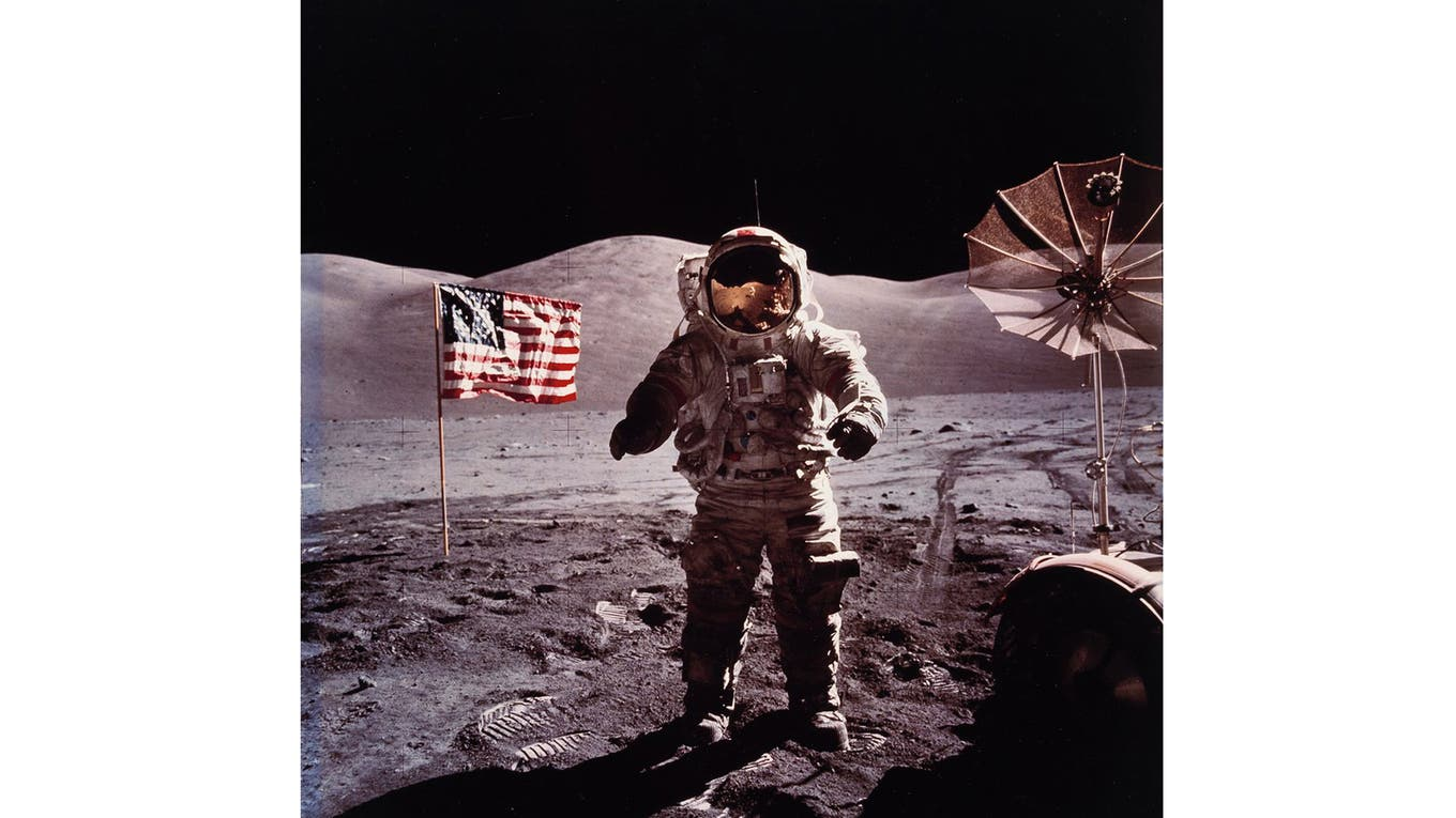 Eugene Cernan durante el alunizaje del Apollo 17, en 1972. Foto: NASA