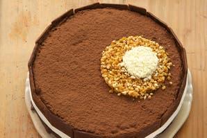 Torta con círculos de chocolate y praliné