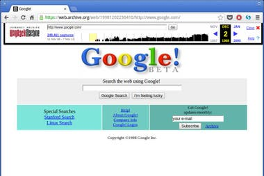 La primera portada de Google, vista por The Internet Wayback Machine de archive.org