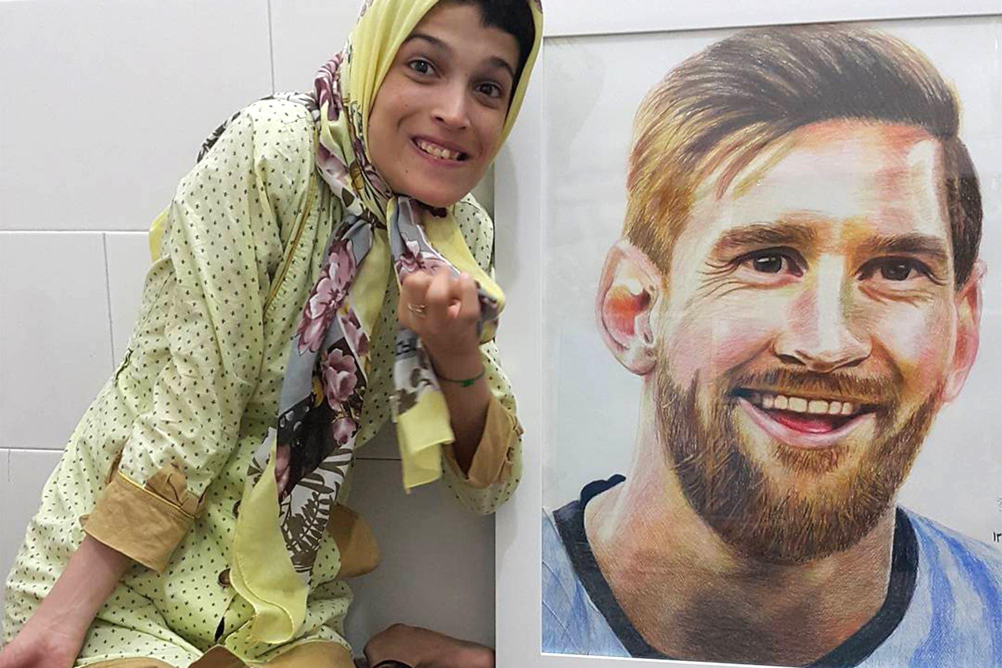 El increíble retrato de Lionel Messi que dibujó una artista con parálisis en 85% de su cuerpo