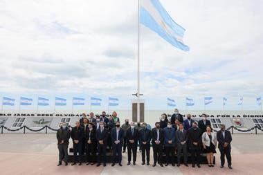El Presidente y parte de su gabinete en Tierra del Fuego