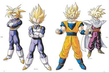 A la izquierda Trunks,a su lado Vegeta, su padre. Gohan a la derecha, y de naranja Goku, su papá.