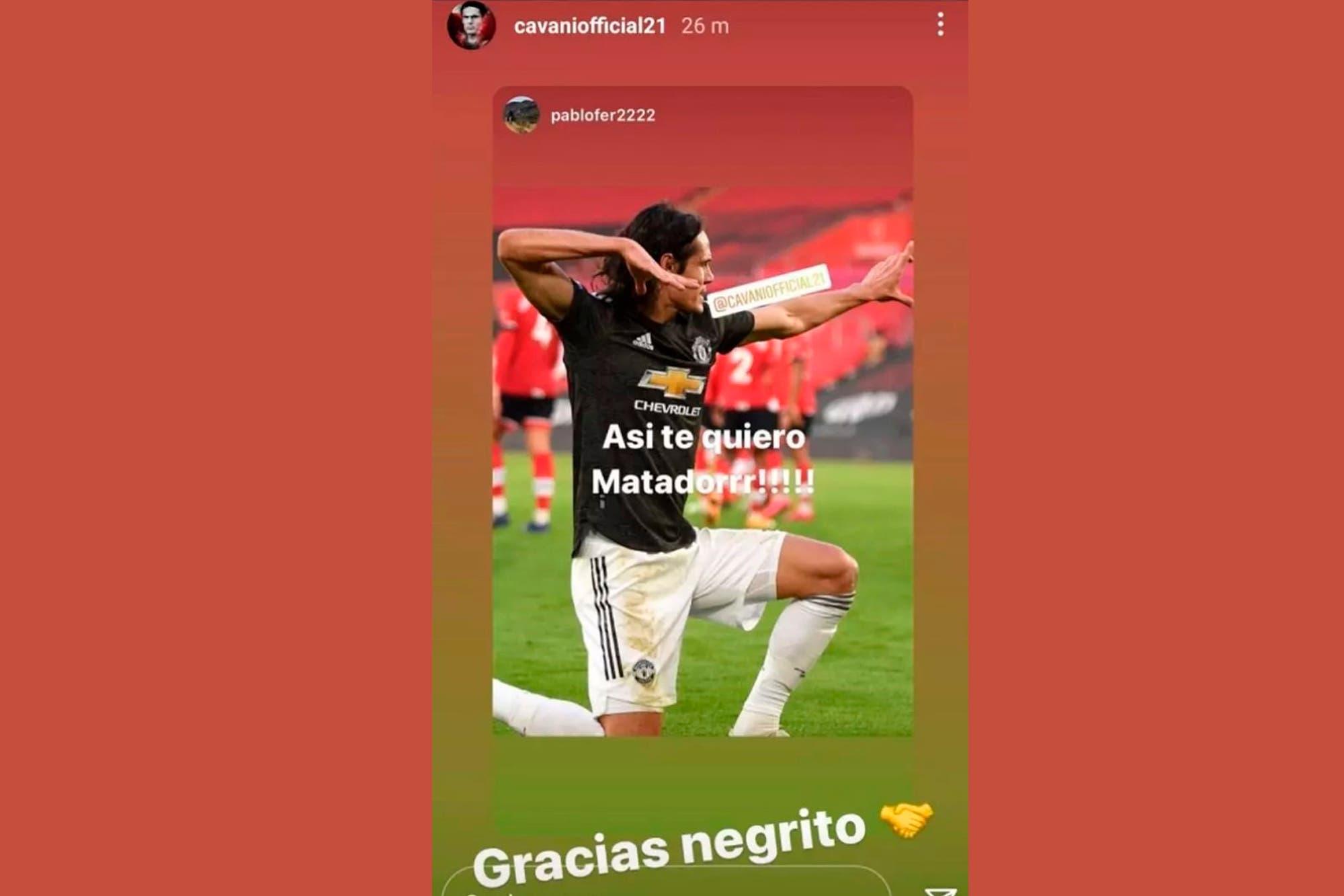 """""""Gracias negrito"""". Edinson Cavani recibió una multa de 100.000 libras y tres partidos de suspensión"""
