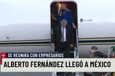 El presidente Alberto Fernández, en su llegada a México