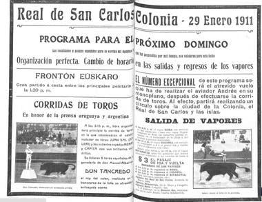 Una publicidad del Real de San Carlos, en Colonia. 1911.