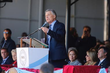 Macri en la Rural. Allí destacó el despegue del sector