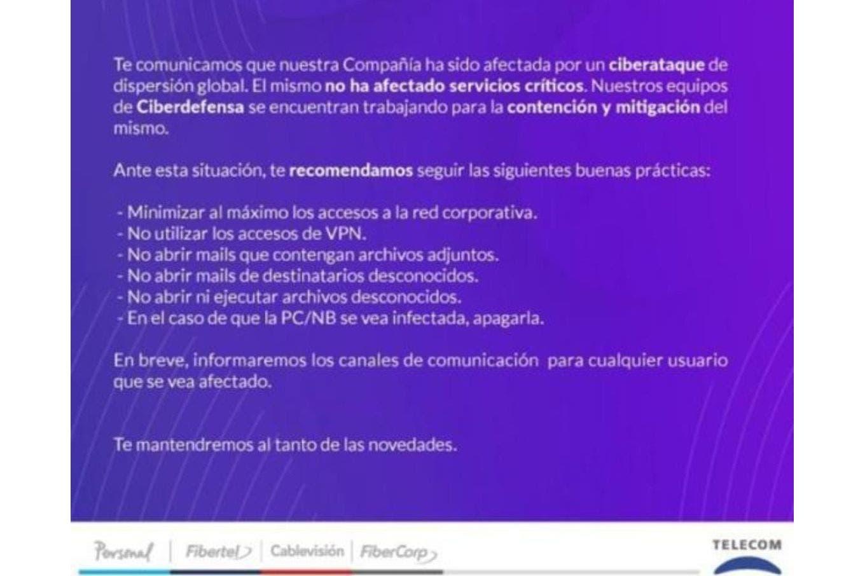 Telecom: un ataque de ransomware afectó a sus servicios; le pidieron US$7,5 millones de rescate