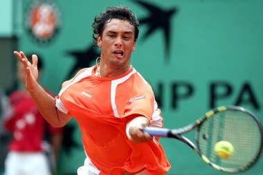 Mariano Puerta en la final de Roland Garros 2005, en la que dio doping por etilefrina y recibió una suspensión de ocho años reducida a dos.
