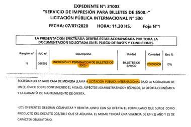 El 6 de junio pasado la Argentina lanzó una licitación para comprar billetes de $500. Era en la práctica la convalidación de una importación. Pero esos papeles tampoco llegarán al país.