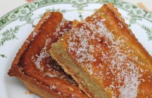 Tarta express, de coco y crema pastelera