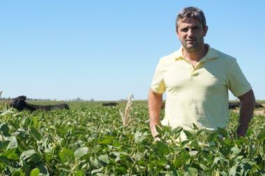 Diego Sallaberry, en el lote de soja destinado a pastoreo con el destete