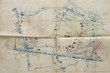 Mapa trazado a mano por el propio Harold Duggan en una de las posiciones desplegadas por los británicos en Francia