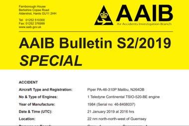 La portada del informe especial de agosto de la AAIB sobre el accidente en el que murió Emiliano Sala
