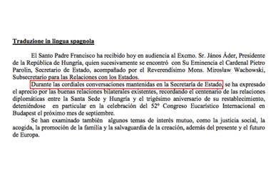 Tras el cortocircuito con el gobierno argentino, la Santa Sede agregó precisiones en los comunicados