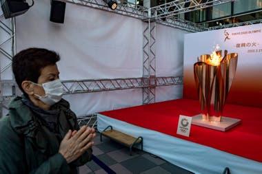 La antorcha olimpica en exhibición.