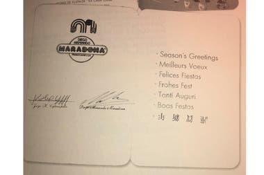 La postal que Maradona y Jorge Cyterszpiler le enviaron a Stad.